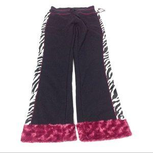 Women Sweatpants Black Zebra Print Size S Muff
